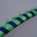 lime green glitter, royal blue stripe